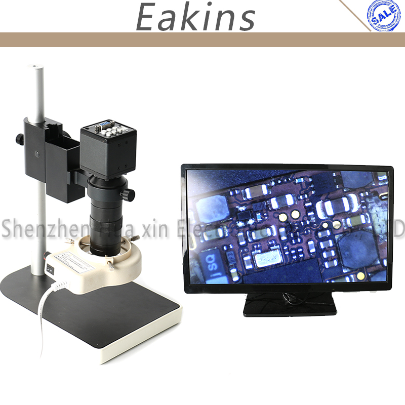 2.0MP VGA Digital C-mount Video Microscope Camera Set+100X C-mount Lens+Stand For Iphone PCB Maintain Lab Industrial Inspection 2mp vga usb industry digital microscope camera with 100x c mount lens 56 led ring light metal holder for phone pcb repair