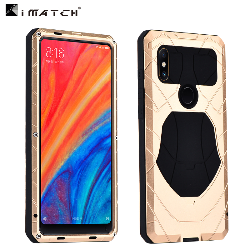 Original iMatch Case For Xiaomi Mix 2s Luxury Waterproof Shockproof Hard Metal + Silicone Case Full Protection Phone Case