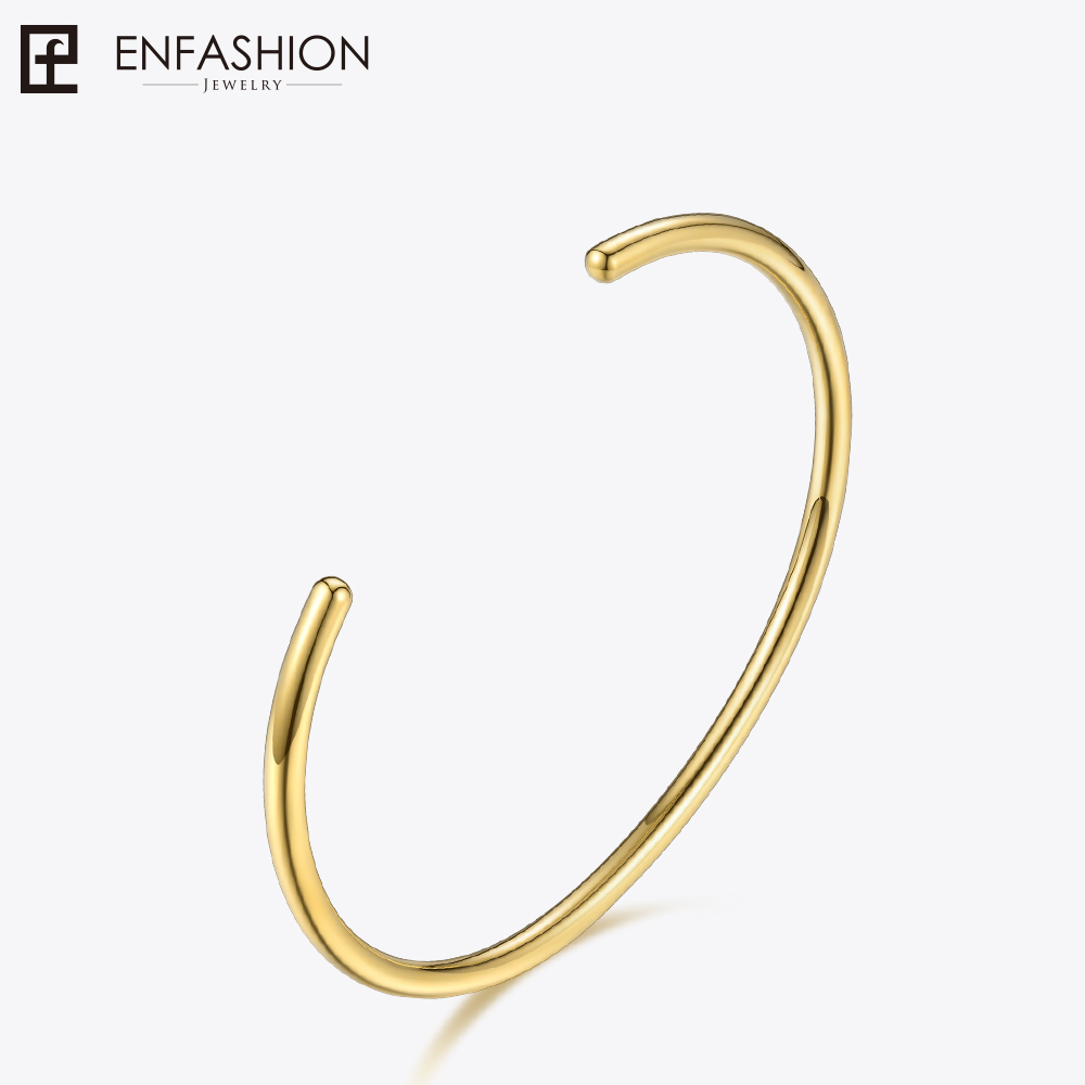 Enfashion Basic Cuff Bracelet Manchette Gold color Stainless steel Bangle Bracelet For Women and Men Bracelets Bangles Pulseiras cremo labyrinth bangles stainless steel bracelets femme bijoux manchette reversible 40mm wide maze leather bangle pulseiras