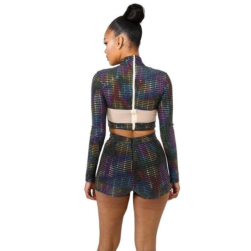 MUXU fashion glitter cropped two piece set two piece set top and pants long sleeve women set clothing in Women 39 s Sets from Women 39 s Clothing