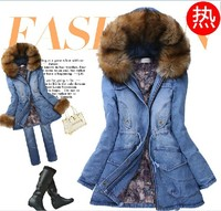 Ms High Quality Winter New Cowboy Cotton Long Thickening Cotton Padded Jacket Coat Of Cultivate One