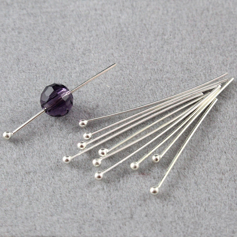 10pcs 20/30/40mm 925 Sterling Silver Ball Head Pins Needles For Beads Earring DIY Jewelry Making Accessories Findings Ornament