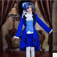 New cos ciel phantomhive black butler cosplay halloween junge master geburtstag blau dress vollen satz 7in1 (top + hose + mantel + tie + goggles