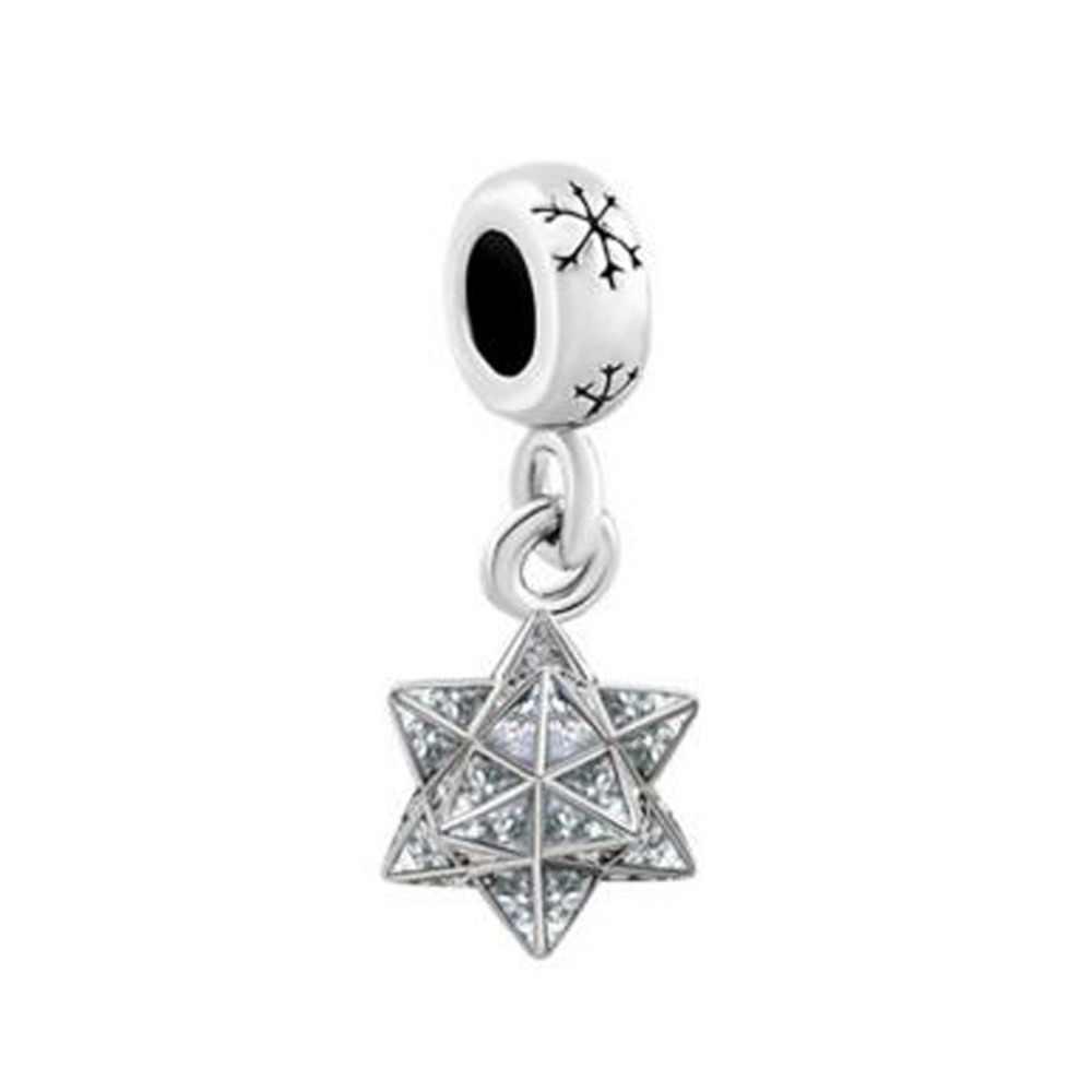 Darmowa wysyłka płatek śniegu dystansowe kryształ Pave gwiazda koraliki charm w stylu fit bransoletka pandora