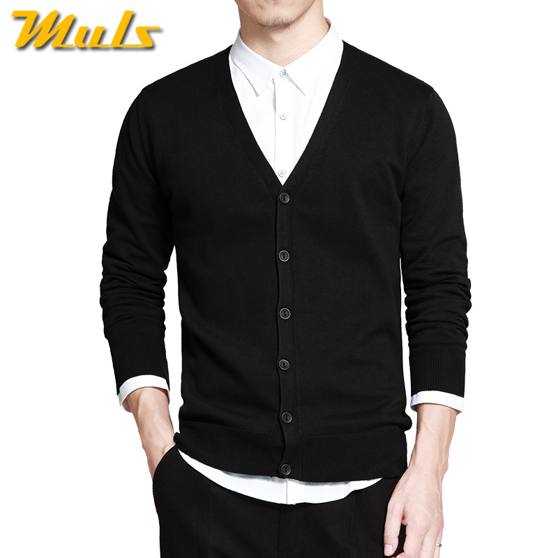 Muls Mens sweater cardigans Simple style cotton knitting spring autumn winter sweater coat male V neck brand clothing MS16003