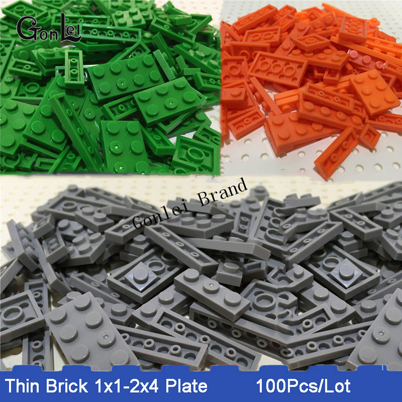 100pcs/lot Bulk Building Blocks DIY Eduational Toys For Kids Compatible With Bricks Plate Parts 1x1 1x2 1x4 2x3 2x4 Mix 8 Models