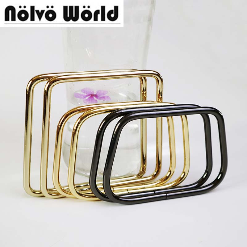 20PCS 2 Size Round Edge Non Welded Alloy Material Light Gold Gun Metal Trapeziform Shaped Ring For Ladies Bags Handbags Handle
