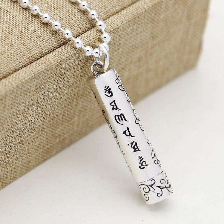 NEW 925 silver Tibetan OM Mani Padme Hum pendant Tibetan Six Proverb Words Pendant Buddhist Symbols