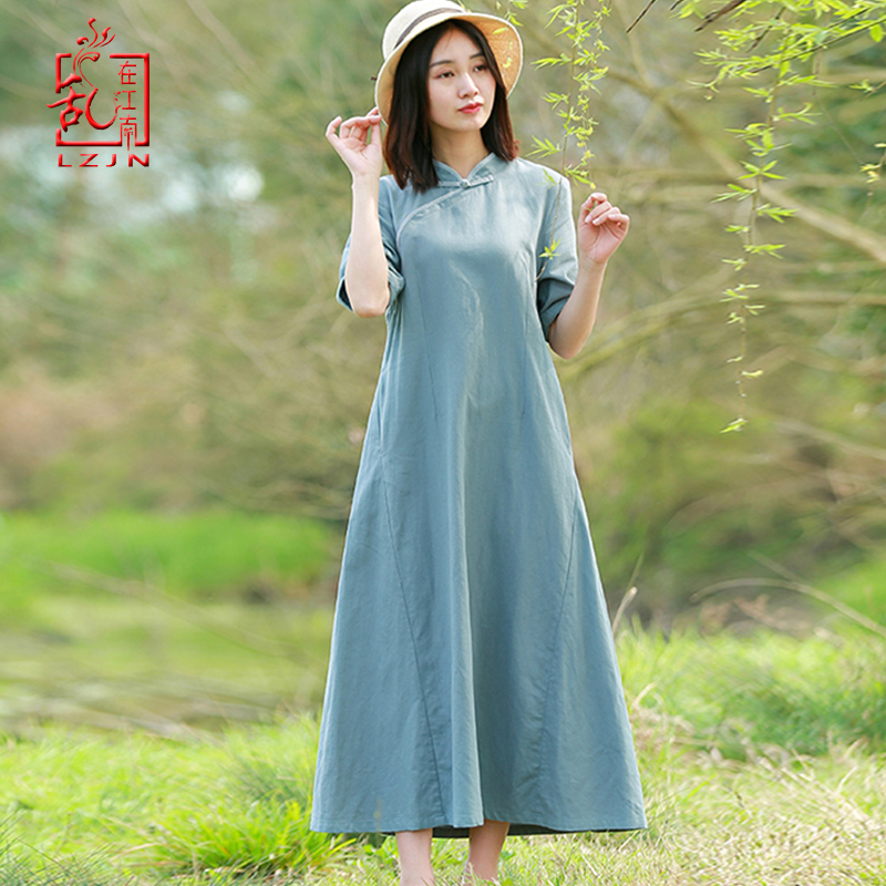 LZJN traditionnel chinois Style Robe 2019 Robe d'été Qipao longue Vintage Cheongsam femmes coton lin Robe avec poches