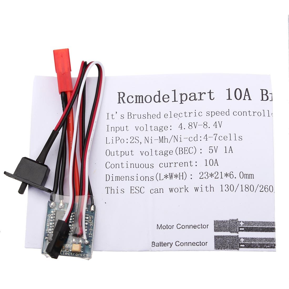 10A ESC Brushed Speed Controller For 1/16 1/18 1/24 RC Car Parts With Brake
