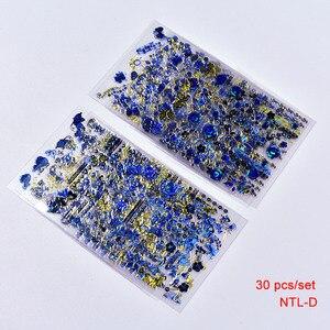 Image 3 - 30 Tờ 3D Vàng Xanh Dương Đề Can Nóng Dán Móng Nghệ Thuật Miếng Dán Móng Nghệ Thuật Thiết Kế Bling Shinning Bướm Tự Dính Móng Tay hình Xăm,
