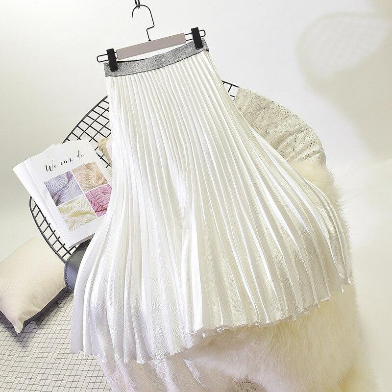 Stretch High Waist Long Pleated Skirt 33