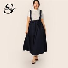 Sheinside Plus ขนาด Navy เอว Paperbag กระโปรงกระโปรงผู้หญิง 2019 ฤดูร้อน Ruffle Trim จีบกระโปรงผู้หญิง Maxi กระโปรง