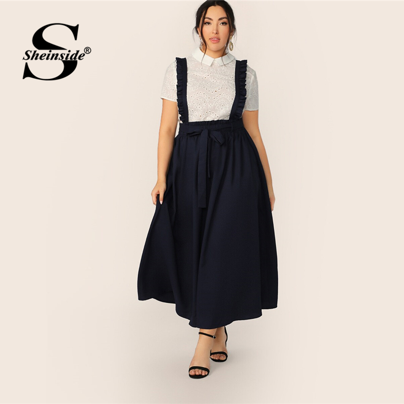 Sheinside Plus Size Navy Paperbag Waist Flared Skirt Women 2019 Summer Ruffle Trim Pleated Skirts Ladies Solid Maxi Skirt