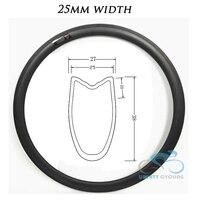 1 piece U Shape 38mm 50mm 60mm 88mm 700c Carbon Road Tubular Bicycle Wheel Rims Bike Rim, 25mm Width