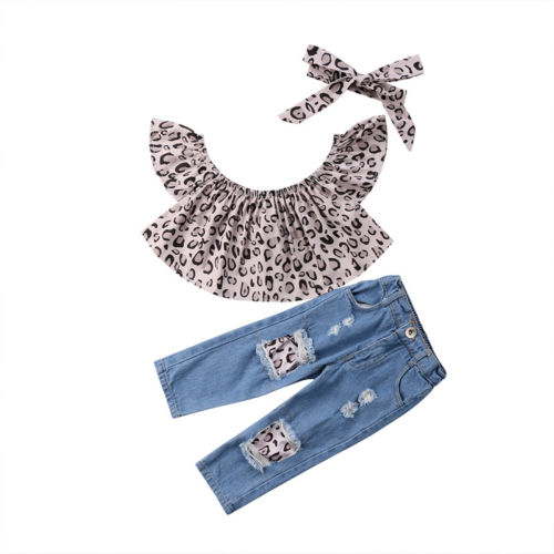 Fashion Kids Baby Girl Summer Sunsuit Leopard Clothes Chiffon Sleeveless Blouse Tops+Destroyed Jeans Pants 3Pcs Clothes Set 1-7Y