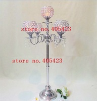 4pcs Lot Wedding Event Romantic Crystal 5 Head Table Crystal Candle Holders Centerpiece Stands H90cm