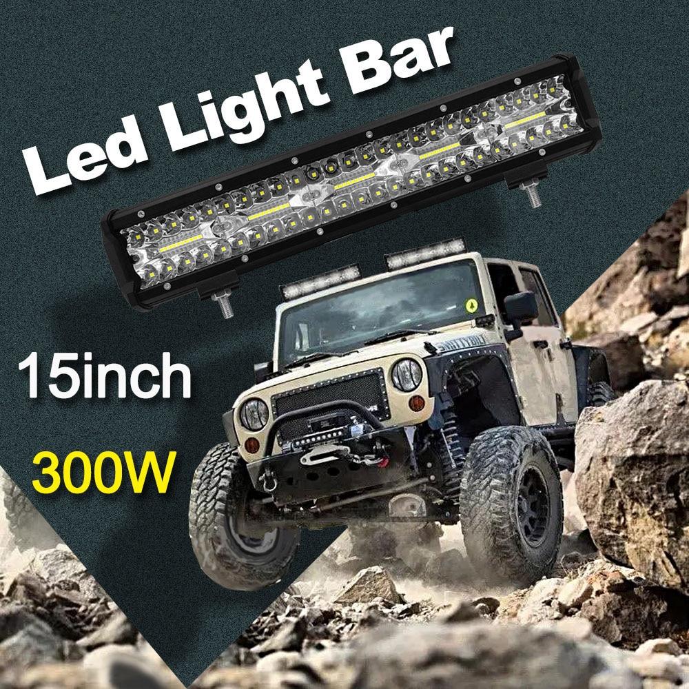 15inch 300W LED Light Bar Spot Flood Combo Beam Work Day Light Driving Fog Road Lighting for Jeep Car Truck SUV ATV Boat Marine