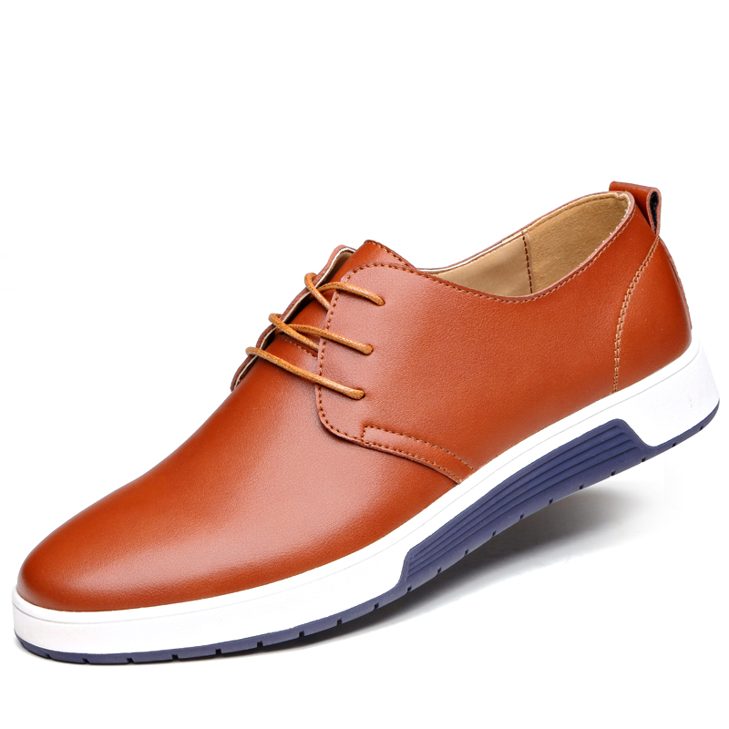 New 2018 Men Casual Shoes Leather Luxury Brand Comfortable Flat Shoes - Men's Shoes