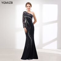 New Arrival Mermaid Evening Dress 2018 Long Sleeve One Shoulder Heavy Beaded Crystal Black Evening Gown