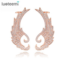 Luoteemi Europe Design Fashion Rose Gold Color Color Large Wings Cuff Stud Earrings For Sexy Attractive