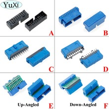 YuXi 2 adet/grup USB 3.0 20pin 19pin erkek konnektör 90/180 derece anakart chassisplugged plaka IDC 20 pin konektör soket