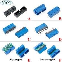 YuXi 2 unids/lote de conector macho USB 3,0 de 20 pines, 90 /180 grados, placa refrigerada, IDC 20, conector con pines