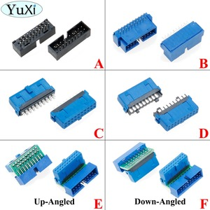 Image 1 - YuXi 2pcs/lot USB 3.0 20pin 19pin male connector 90 /180 degree motherboard chassisplugged plate IDC 20 pin connector socket