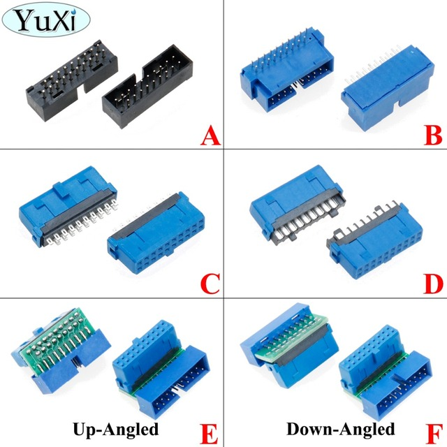 YuXi 2pcs/lot USB 3.0 20pin 19pin male connector 90 /180 degree motherboard chassisplugged plate IDC 20 pin connector socket