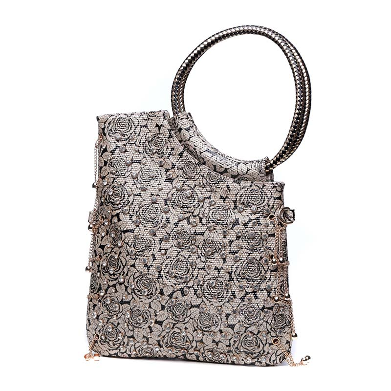 Women Diamonds Rose Floral Hand Clutch Bag Sequins PU Leather Chain Crossbody Shoulder Bag Female Party Handbag Metal Ring Totes new fashion women party clutch bag pu leather hollow metal bow buckle evening bag female banquet handbag with shoulder chain