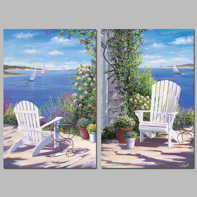 Beautiful Blue Sea Boat Flower Garden Seascape Decoration Wall Art Pictures  Canvas Paintings For Living Room