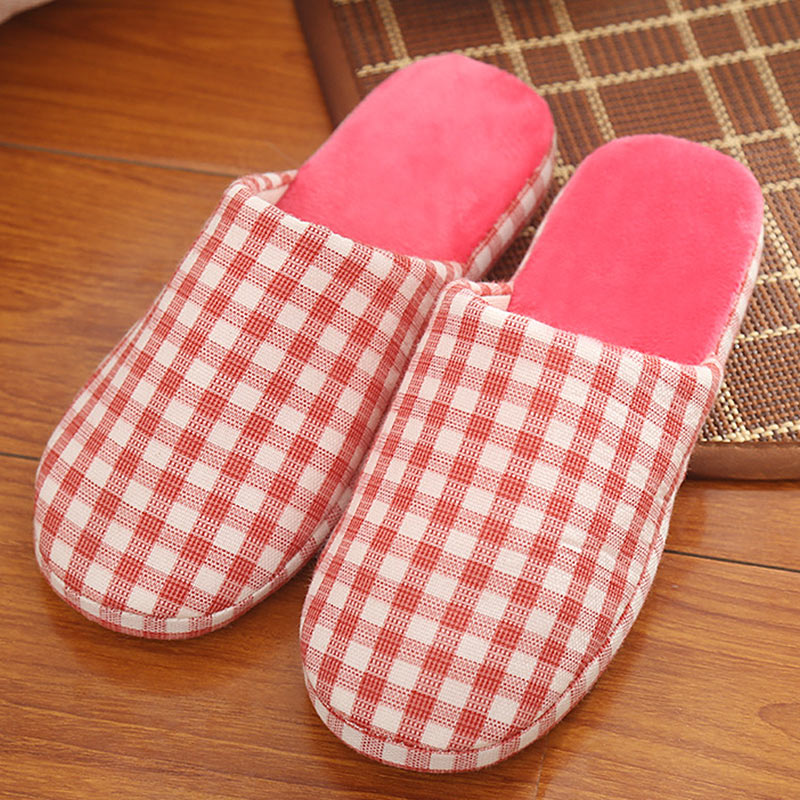 Winter Home Cotton Slippers Fashion Couple Wooden Floor Anti-Slip Slippers Plush Indoor Bedroom Flats Shoes For Woman Lattice fashion autumn and winter indoor home lovers cotton drag floor plush slippers female slip resistant