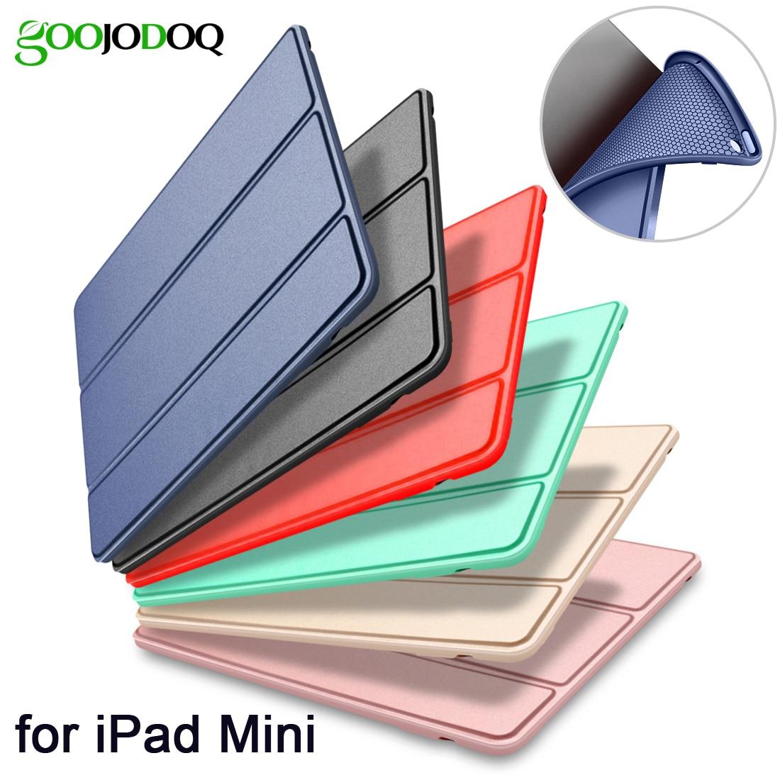 Cas pour iPad Mini 4 3 2 1 Cas PU En Cuir Silicone Souple Retour Trifold Stand Veille Automatique/Sillage up Smart Cover pour iPad Mini 2 Cas