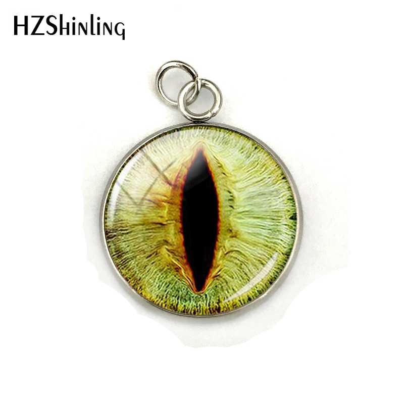 Dragon Eyes Glass Round Cabochon Pendant Jewelry Accessories Hand Craft Stainless Steel Plated Charms Gifts for Men Women