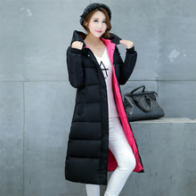 Latest Winter 2016 Fashion Ladies Thicken Long Cotton Down Jacket Elegance Big yards Women Warm Pure color Hooded Jacket G0282
