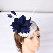 16 Colors fashion party feather flwoer ladies hats fascinators with ostrich quill dexor for women wedding