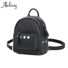 Aelicy New Fashion Mini Rivets Women Backpack Lady School Bags for Girls Female luxury women bags designer high quality(China)