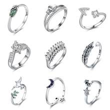 Jiayiqi Fashion 925 Sterling Silver Rings Women Fine Jewelry Charm Heart Alphabet CZ Crystal Ring Wedding Valentine's Day Gifts(China)