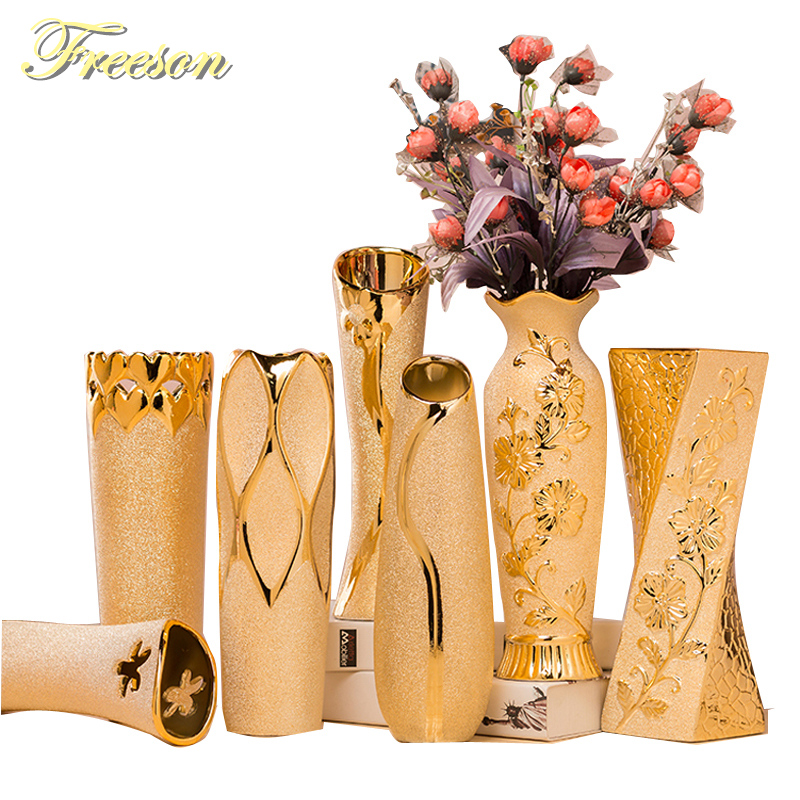 Европа расписанную Позолоченные фарфоровая ваза Роскошные advanced Керамика ваза кабинет прихожей украшения дома