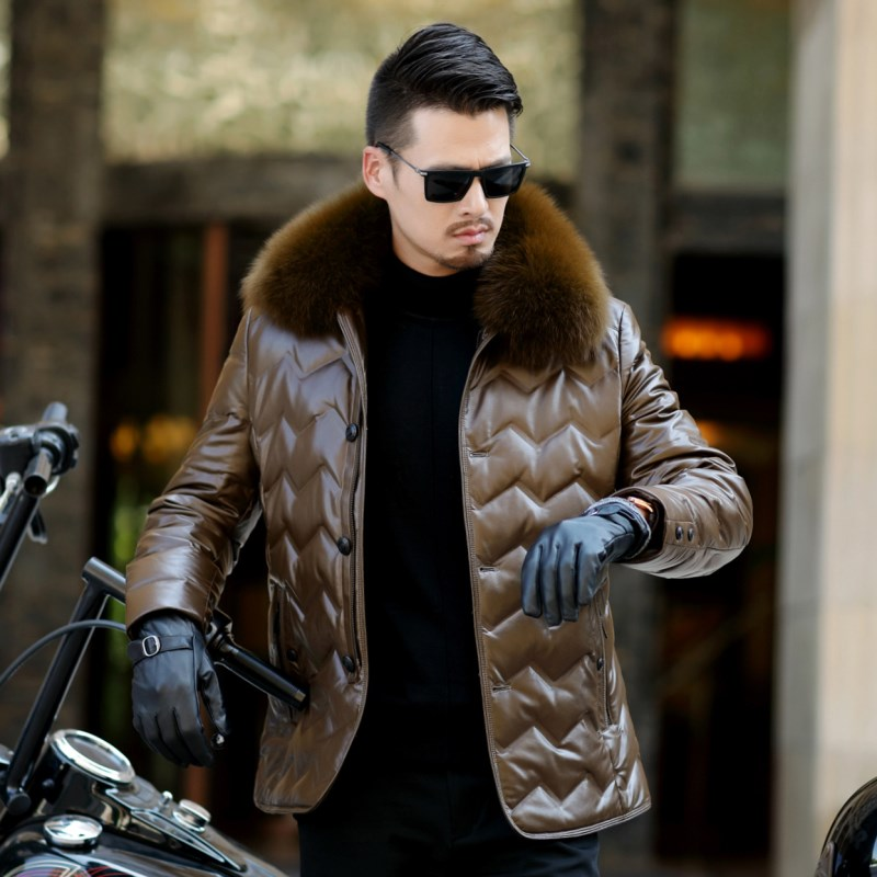 HTB1ksHQXffsK1RjSszgq6yXzpXaX Jaqueta Couro Sale Men Engine Leather Parka Winter Down Jacket 2018 New Middle-aged Sheep Coats Large Size Outerwear Male No520