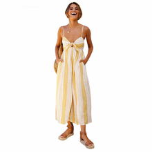 df96cfb7018 2018 Summer Women Backless Sexy Spaghetti Strap Wide Leg Rompers Beach  Overalls Pockets Knot Tie Up