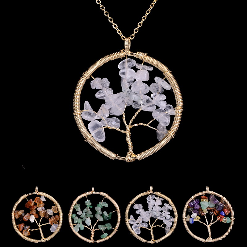 Tree Necklace Chakra Rainbow Green Aventurine Necklace Embedded Natural Stone Pendant Chains Necklace Lover Gifts