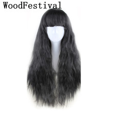 WOODFESTIVAL corn wig long hair wigs for women yellow taro brown black burgundy wig wavy heat resistant synthetic wigs with bang long fluffy wavy oblique bang synthetic lolita wig