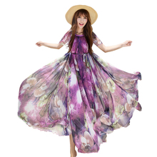 Colorful Floral Printed Chiffon Long Maxi Dress Free and loose Beach Wedding Guest Long Flowy Dress with Sleeve maternity dress mesh checkered flowy dress