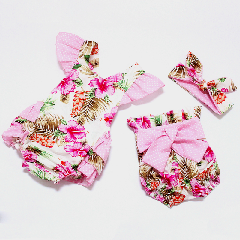 dc4d64e336066 2016 cotton baby girl summer romper vintage flowers newborn baby girl  clothes shorts headband infant toddler frock designs-in Bodysuits from  Mother & ...