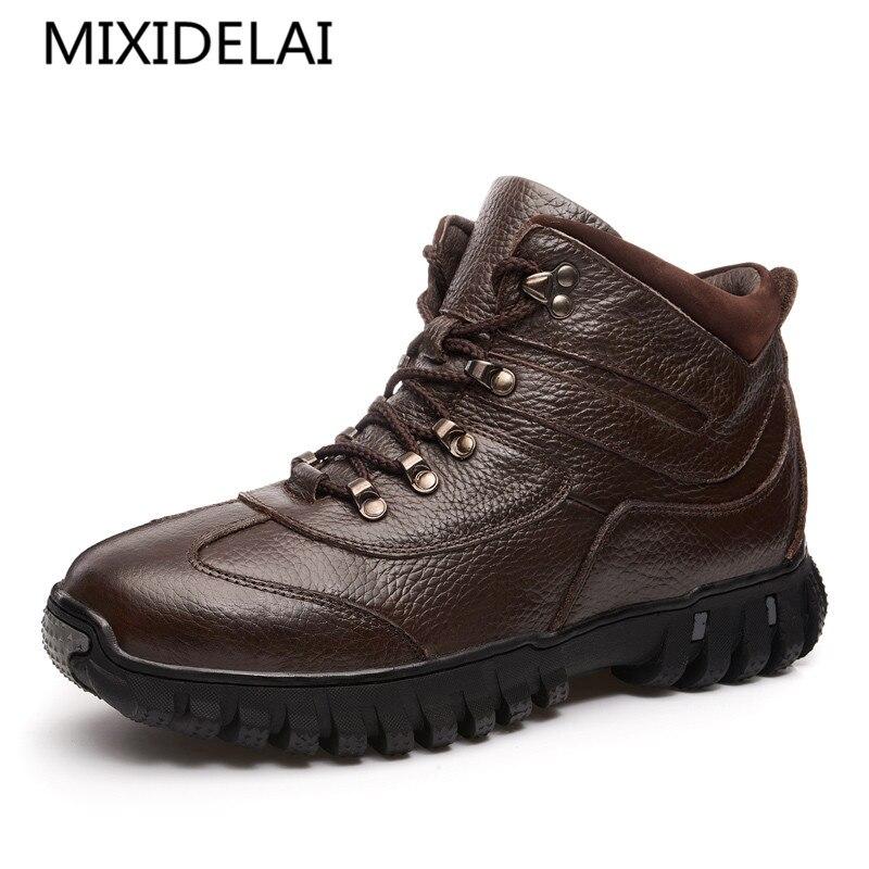 MIXIDELAI 100% bottes en cuir véritable hommes chaussures d'hiver en peluche hommes chauds bottes anti-dérapant bottes d'hiver chaussures de travail de haute qualité