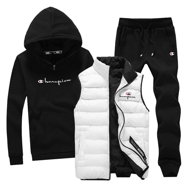 Свитер с капюшоном Для мужчин 3 предмета теплый флис Марка Толстовка для Для мужчин пальто Повседневное спортивный костюм модная верхняя од...
