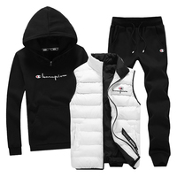 Hoodie Sweatshirt Men 3 Piece Warm Fleece Brand Hoodie For Men Coat Casual Tracksuit Fashion Outwear