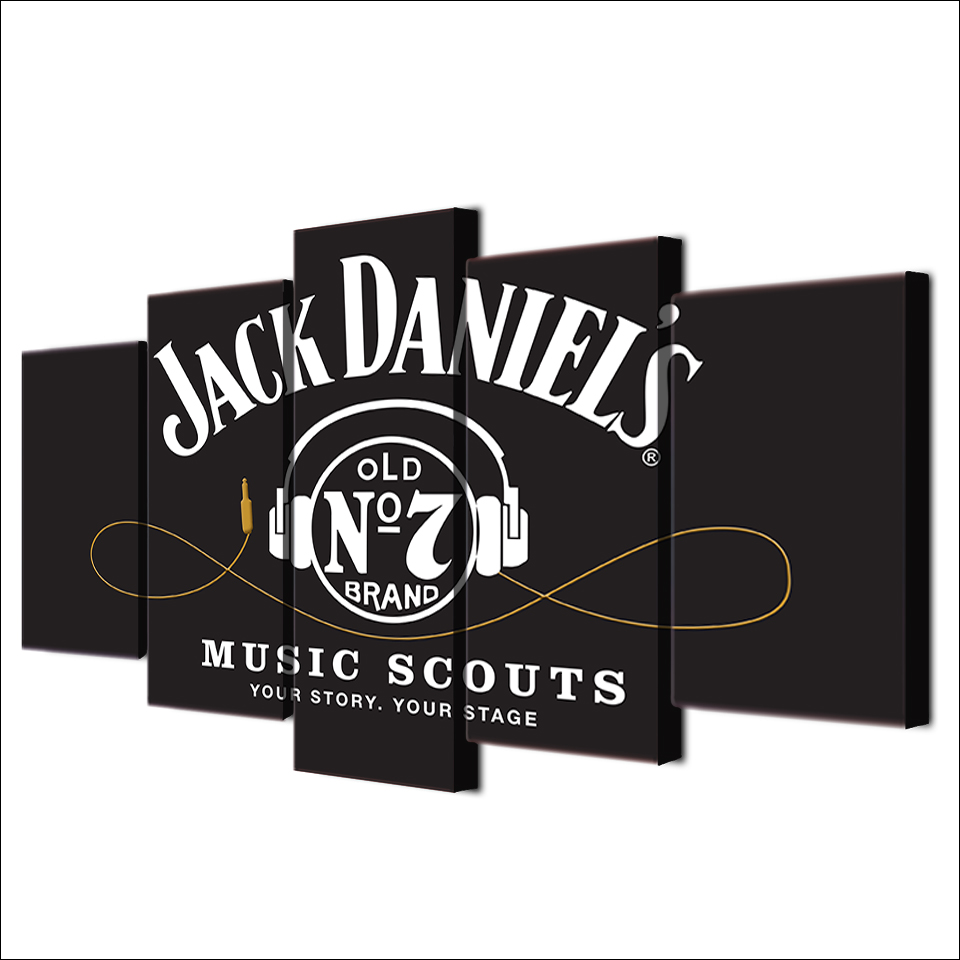 Online buy wholesale poster jack from china poster jack 5 piece canvas wall art hd printed jack daniels drink painting frame headset poster grey canvas amipublicfo Gallery
