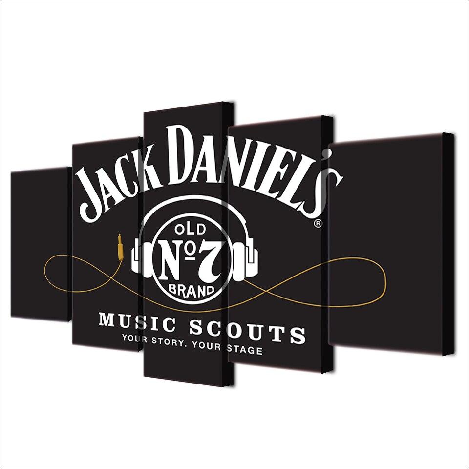 5 Stück Leinwand Wandkunst Hd Gedruckt Jack Daniels Trinken malerei ...